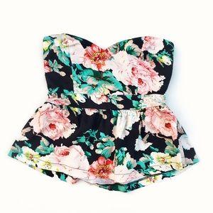 HAVE Floral Multicolor strapless peplum blouse